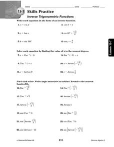 13 7 Skills Practice Inverse Trigonometric Functions Worksheet