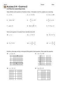2-2 Practice: Linear Equations Worksheet