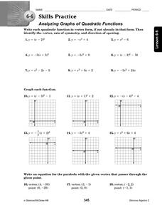 6-6 Skills Practice: Analyzing Graphs of Quadratic Functions Worksheet
