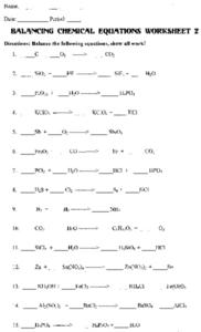 Balancing Chemical Equations - Worksheet 2 Worksheet
