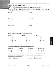 Trig Functions of General Angles Worksheet