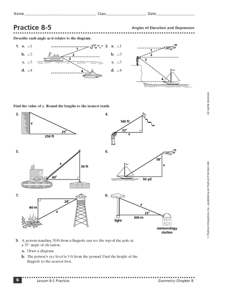 Angle Of Elevation And Depression Trig Worksheet Answers With Work