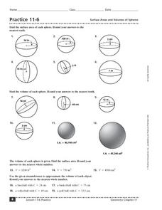 Practice 11-6 Surface Areas and Volumes of Spheres Worksheet for 8th ...