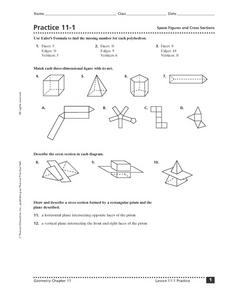 Practice 11-1 Space Figures and Cross Sections Worksheet