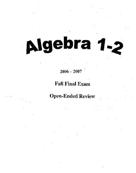 Algebra 1-2 Fall Final Exam Open-Ended Review Worksheet