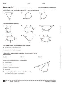 Practice 3-5 The Polygon Angle-Sum Theorem Worksheet