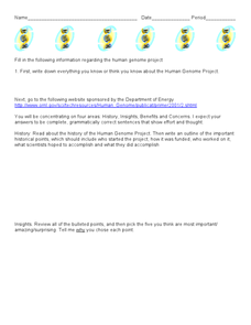 Human Genome Project Worksheet