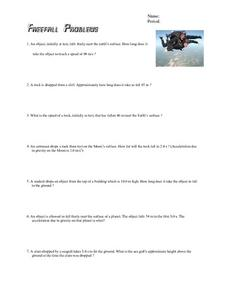 Freefall Problems Worksheet