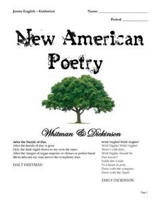 New American Poetry - Whitman and Dickson Worksheet