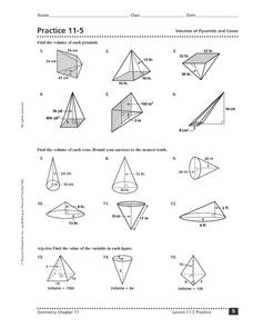 Practice 11-5 Volumes of Pyramids and Cones Worksheet