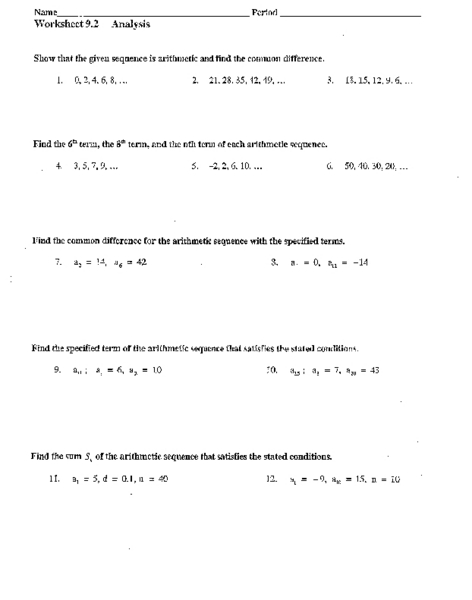 Arithmetic Sequences And Series Worksheet Worksheets For School ...