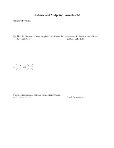 Distance And Midpoint Formulas Worksheet For 9th Grade