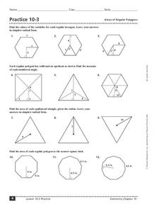 Practice 10-3 Areas of Regular Polygons Worksheet for 10th - 12th ...