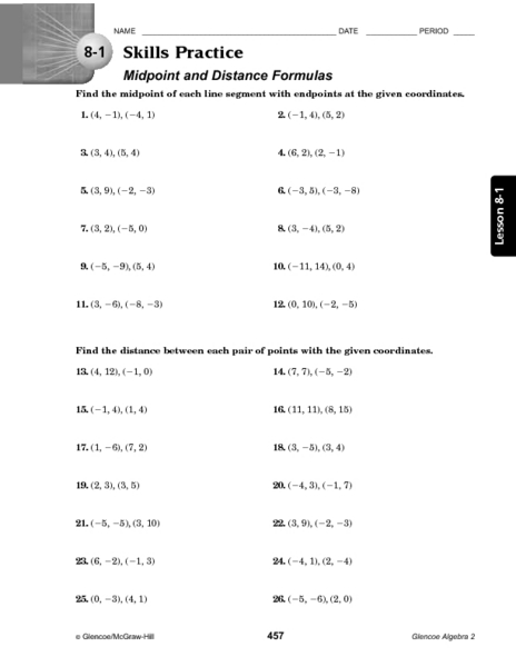Worksheets Activity Worksheet Distance And Midpoint Exploration Answers 8 1 skills practice midpoint and distance formula 9th 12th grade worksheet lesson planet