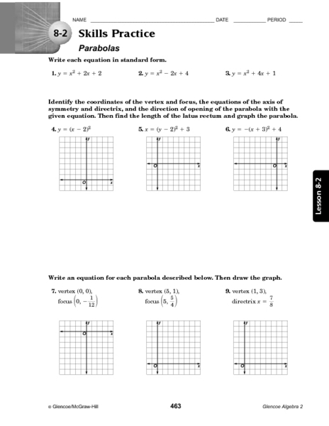 8 2 Skills Practice Parabolas Worksheet For 10th 12th