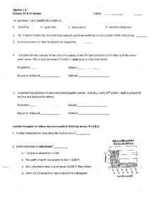 Chapter 13 & 14 Review: Statistics Worksheet