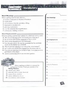 Spelling and Vocabulary Page 99 Worksheet