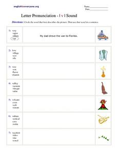 Letter Pronunciation- Letter V Sound Worksheet