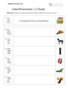 Letter Pronunciation- Z Sound Worksheet