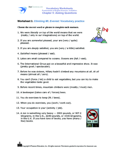 Climbing Mount Everest: Vocabulary Practice (Meaning of