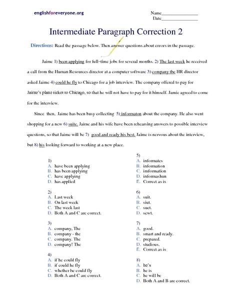 Printable editing worksheets 5th grade