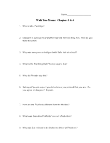 Walk Two Moons: Chapters 3 & 4 Lesson Plan