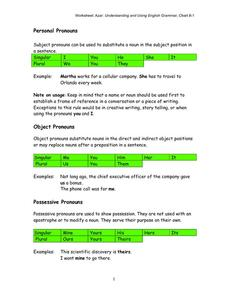 Pronouns and Possessive Adjectives Worksheet