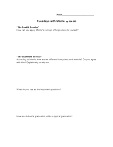 Tuesdays with Morrie pp 164-180 Lesson Plan