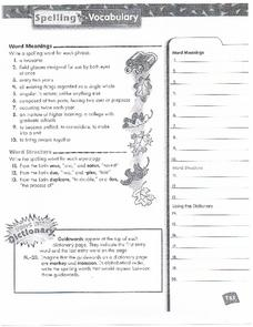 Spelling and Vocabulary Page 153 Worksheet