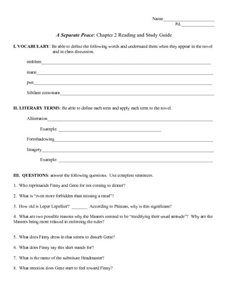 A Separate Peace- &quot-Peace&quot- as a Theme- Worksheet by Classroom Quips ...