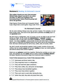 Worksheet 4. Reading : An Astronaut's Journal Worksheet