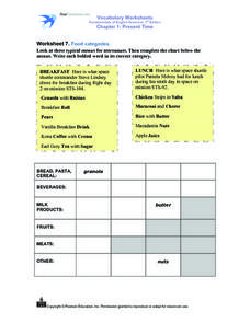 Worksheet 7. Food Categories Worksheet