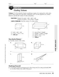 Finding Volume, Density Worksheet