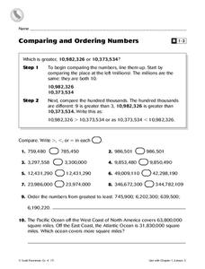 Comparing and Ordering Numbers Worksheet