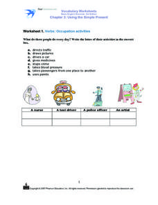 Worksheet 1. Verbs: Occupation Activities Worksheet