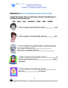 Worksheet 10: Nouns and Adjectives (People's Faces and Hair) Worksheet