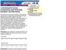 Comparing and Ordering Integers and Decimals Lesson Plan
