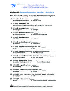 Worksheet 7. Jamaican Bobsledding Team, Part 2: Definitions Worksheet
