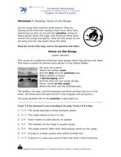 Reading: Home on the Range Worksheet