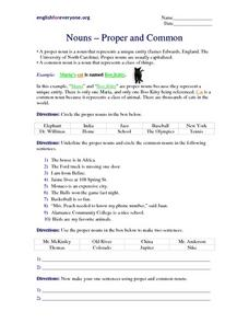 Nouns- Proper and Common Worksheet