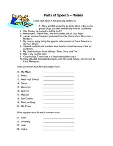 Parts of Speech - Nouns Worksheet