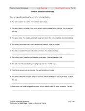 Imperative Sentences Worksheet