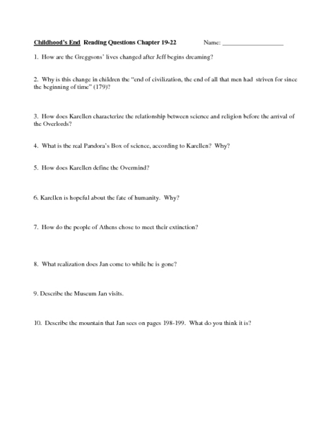Childhood's End Reading Questions Chapter 19-22 Worksheet