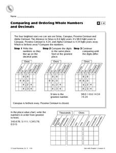 Comparing and Ordering Whole Numbers and Decimals Worksheet