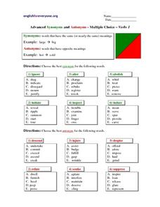 Advanced Synonyms and Antonyms - Multiple Choice - Verbs 1 Lesson Plan