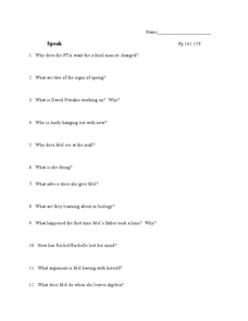 Speak Pp 141-159 Lesson Plan