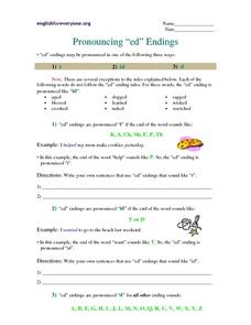"Pronouncing ""ed"" Endings Worksheet"