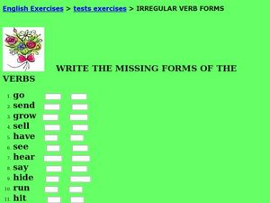 Irregular Verb Forms Worksheet