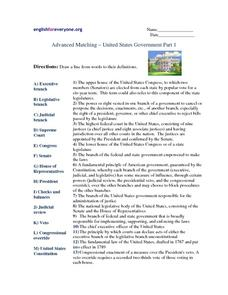 Advanced Matching-united States Government Part 1 Worksheet