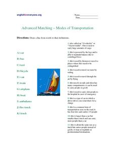 Advanced Matching- Modes of Transportation Worksheet